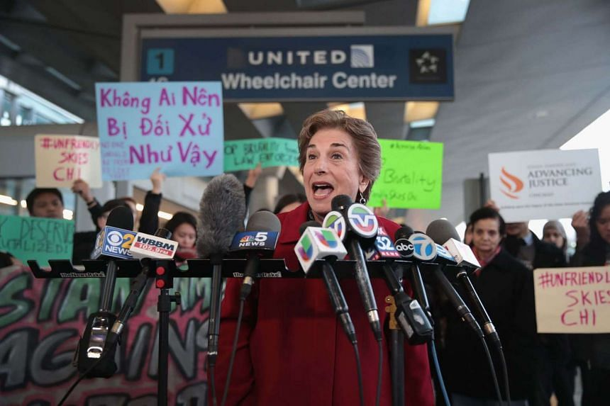 US Representative Jan Schakowsky speaking out against police brutality outside the United Airlines terminal at O'Hare International Airport.