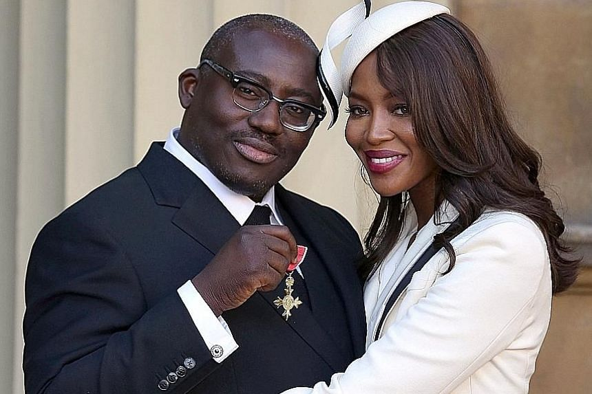 Mr Edward Enninful with model Naomi Campbell after receiving an Order of the British Empire at Buckingham Palace last year. He will be British Vogue's editor-in-chief starting August.