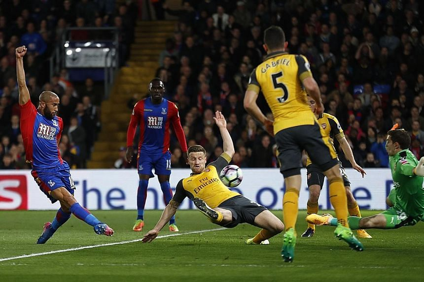 Crystal Palace's Andros Townsend blasting home their opening goal in the 3-0 win over Arsenal. It was Palace's first home win against the Gunners since 1979.