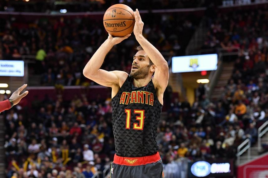 Jose Calderon of the Atlanta Hawks shoots during the second half against the Cleveland Cavaliers at Quicken Loans Arena on April 7, 2017, in Cleveland, Ohio.