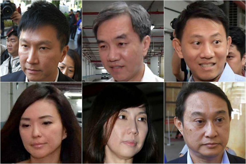 Clockwise from top left: Kong Hee, John Lam, Tan Ye Peng, Chew Eng Han, Sharon Tan and Serina Wee.