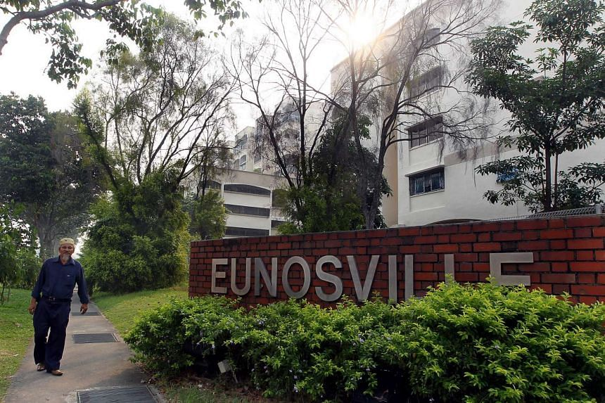 A sign for Eunosville, located opposite Eunos MRT Station.
