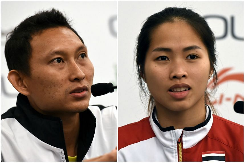 Sony Dwi Kuncoro of Indonesia (left) and Ratchanok Intanon of Thailand were both knocked out of the OUE Singapore Open.