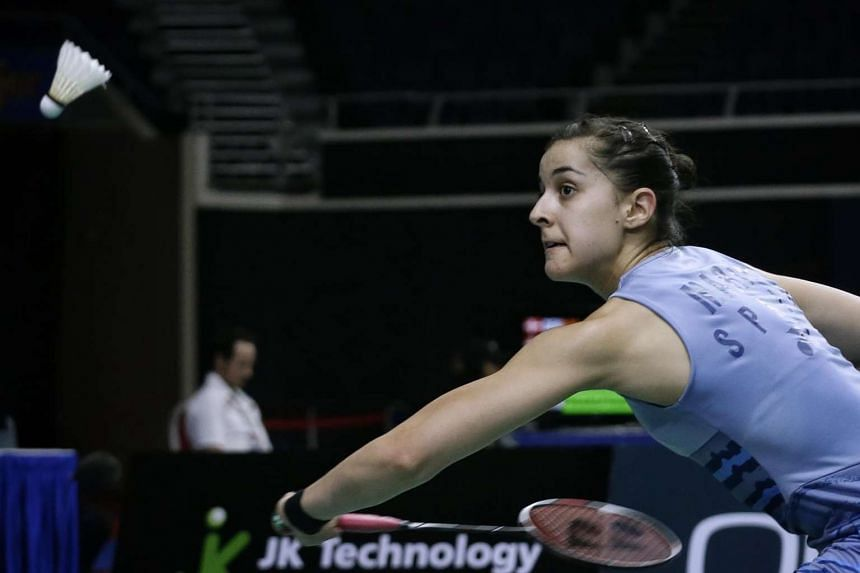 Spain's Carolina Marin in action during day three of the OUE Singapore Open at the Indoor Stadium on April 13, 2017.