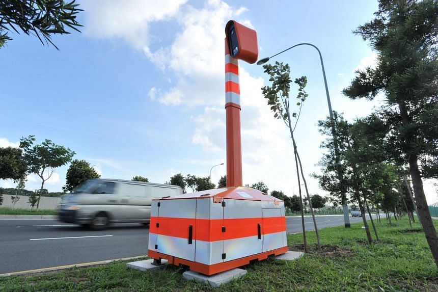 The mobile speed camera at Seletar Link. Koo Kwok En was given jail term and a fine for taking part in an illegal race along Seletar Link in May 2015.