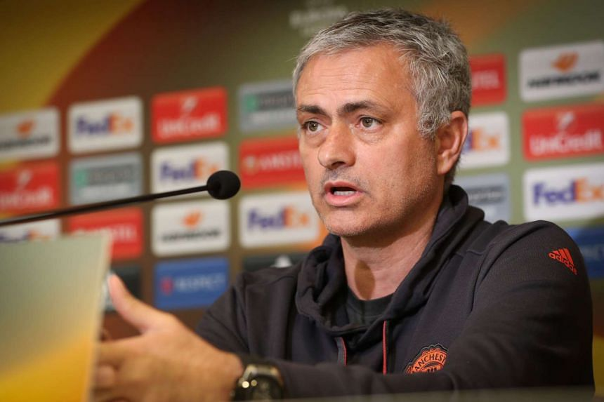 Manchester United's head coach Jose Mourinho speaks during a press conference on the eve of the match.