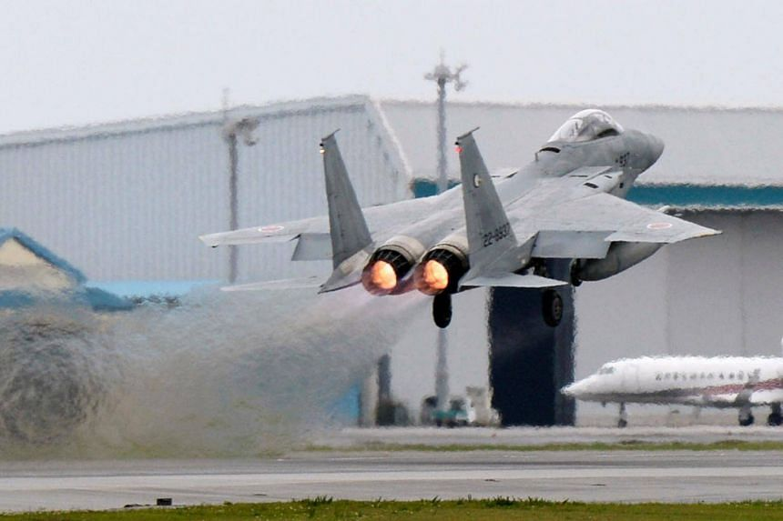 A Japanese Air Self Defense Force F-15 fighter at the Air Self Defense Force Naha base in Naha, Okinawa on April 13.