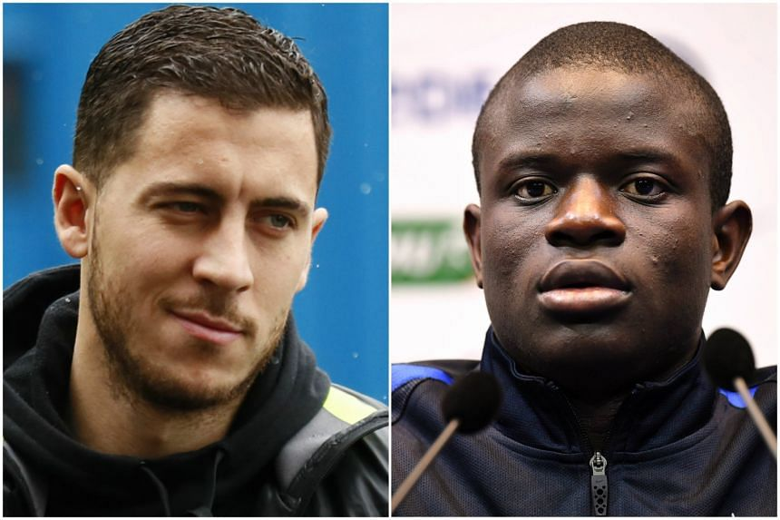 Chelsea's Eden Hazard (left) and N'Golo Kante (right) are among the six players who made the shortlist.