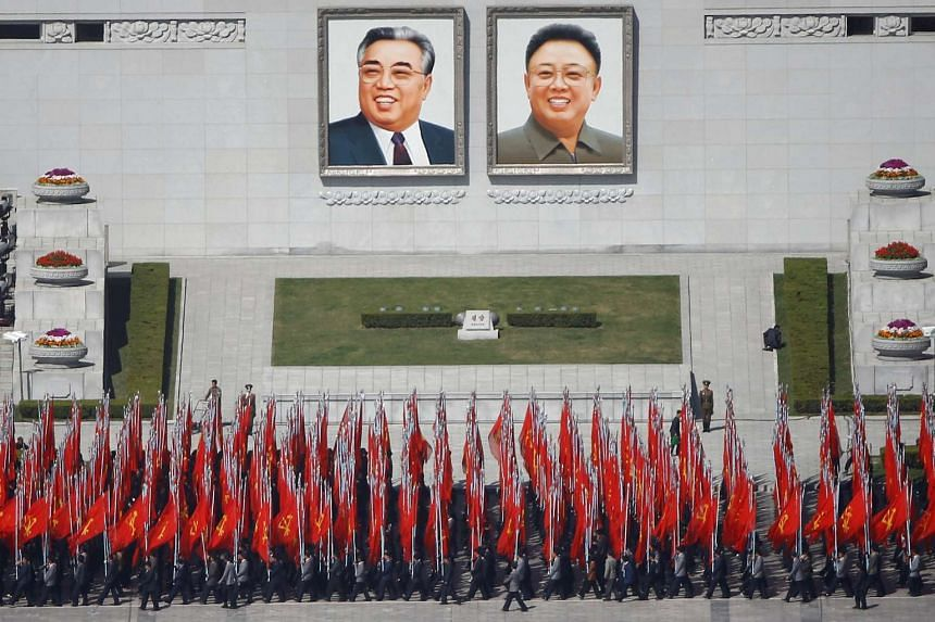 People practicing for a parade at the main Kim Il Sung square in central Pyongyang, North Korea, on April 12, 2017.