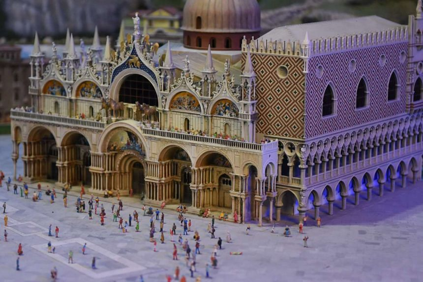 A model of the Piazza San Marco in Venice, Italy. Visitors can pay to have a 3D replica of themselves placed alongside the 100,000 miniature figurines in the Gulliver's Gate exhibition.