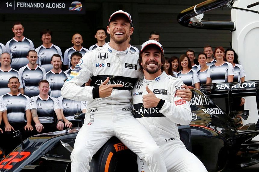 Jenson Button (left) will stand in for Fernando Alonso (right) while Alonso competes in the Indianapolis 500 on the same day.