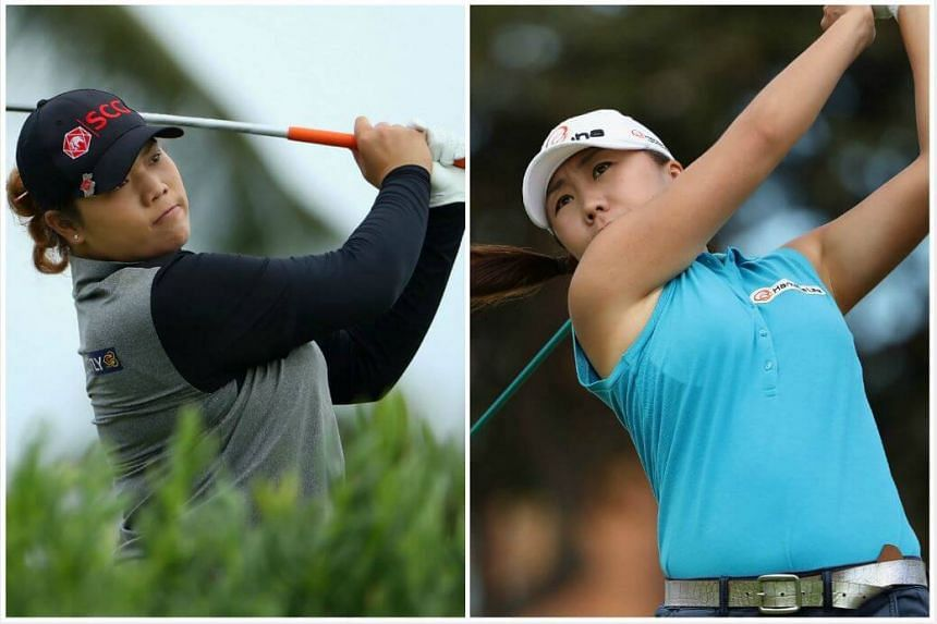 Ariya Jutanugarn of Thailand (left) is now in joint-lead with South Korea's Kim In Kyung (right).