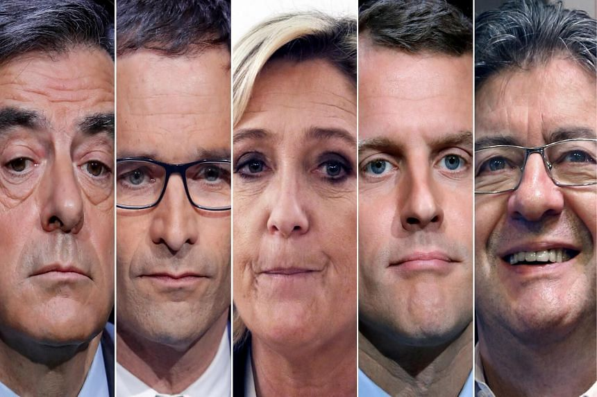 The five candidates for the presidential election: (from left) Francois Fillon, Benoit Hamon, Marine Le Pen, Emmanuel Macron and Jean-Luc Melenchon.