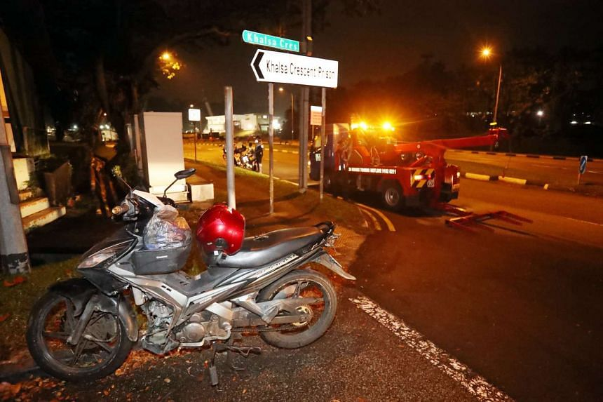 A motorcyclist was injured in an accident with a lorry at Khalsa Crescent on April 14, 2017.