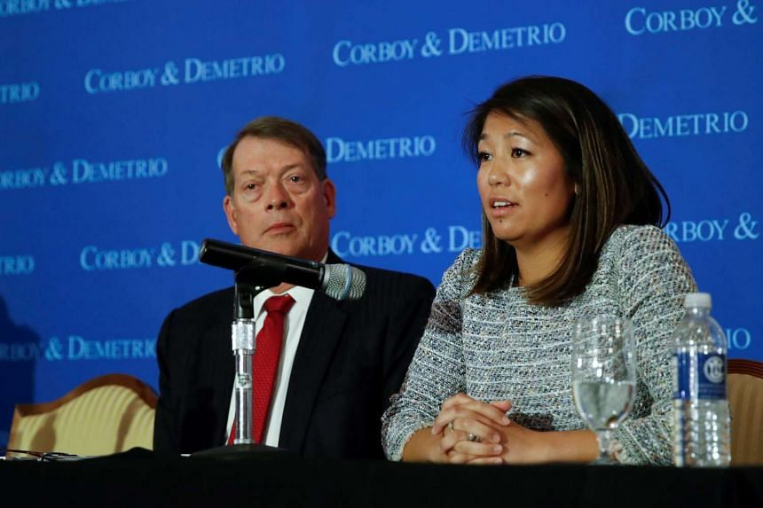 Crystal Dao Pepper, daughter of Dr. David Dao, speaks during a news conference, April 13, 2017.