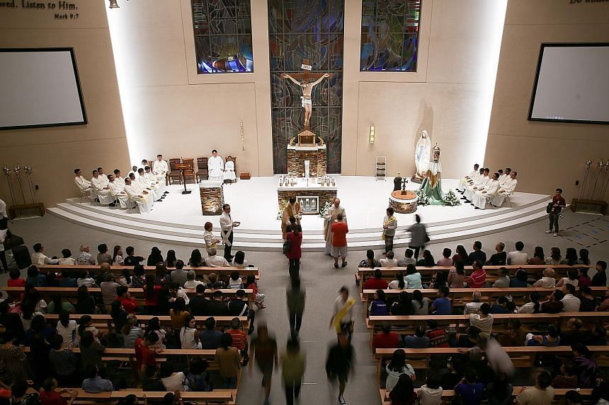 Some 1,000 worshippers attended mass at the newly built Church of The Transfiguration in Punggol Central yesterday. The church, which sits on a 3,000 sq m piece of land, will be the 32nd Roman Catholic church in the Archdiocese's stable after its ded