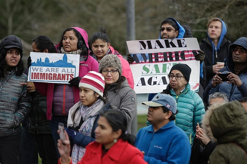 A vigil at Bellevue in Washington state last month for Indian engineer Srinivas Kuchibhotla, who was killed in an alleged hate crime on Feb 22.