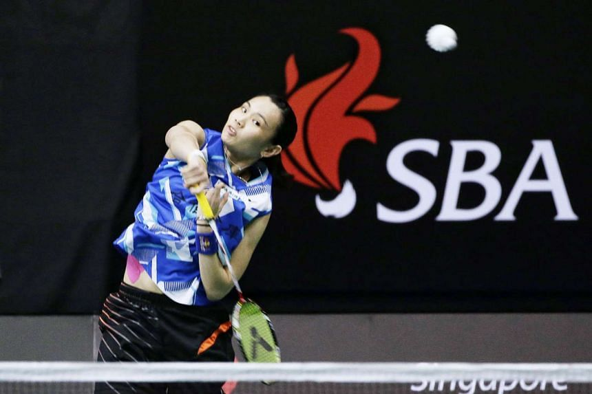 Chinese Taipei's world No. 1 Tai Tzu-ying (above) beat compatriot Chiang Mei-hui 21-11, 21-8 in just 24 minutes last night and faces Japan's Sayaka Sato in today's quarter-finals. She reached the top ranking after winning in Hong Kong last November and ha