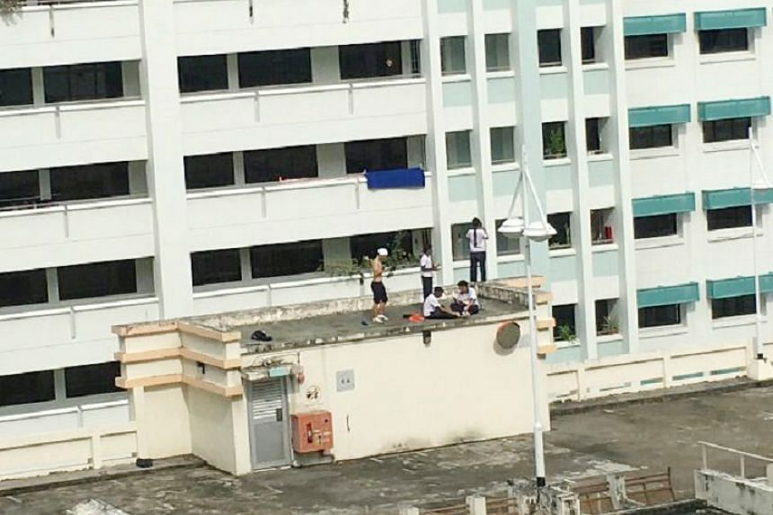 "Five students were caught on video ""running around dangerously"" at the top of a multistorey carpark at Hougang Street 91 Block 971A on April 12 (Wednesday), around 5pm."