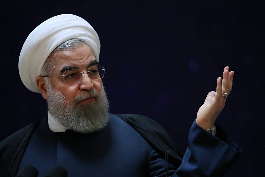 Rouhani (above), facing an election in May, has had to defend himself from opponents who say he has been too eager to appease the West.