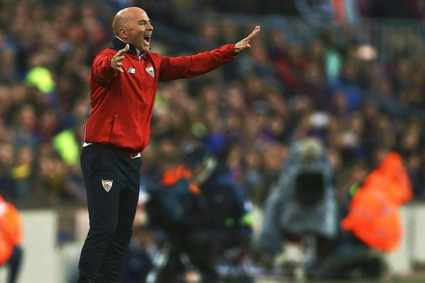 Sevilla's Argentinian head coach Jorge Sampaoli reacts during the Spanish Primera Division soccer match between FC Barcelona and Sevilla FC at Camp Nou in Barcelona, Spain, on April 05, 2017.