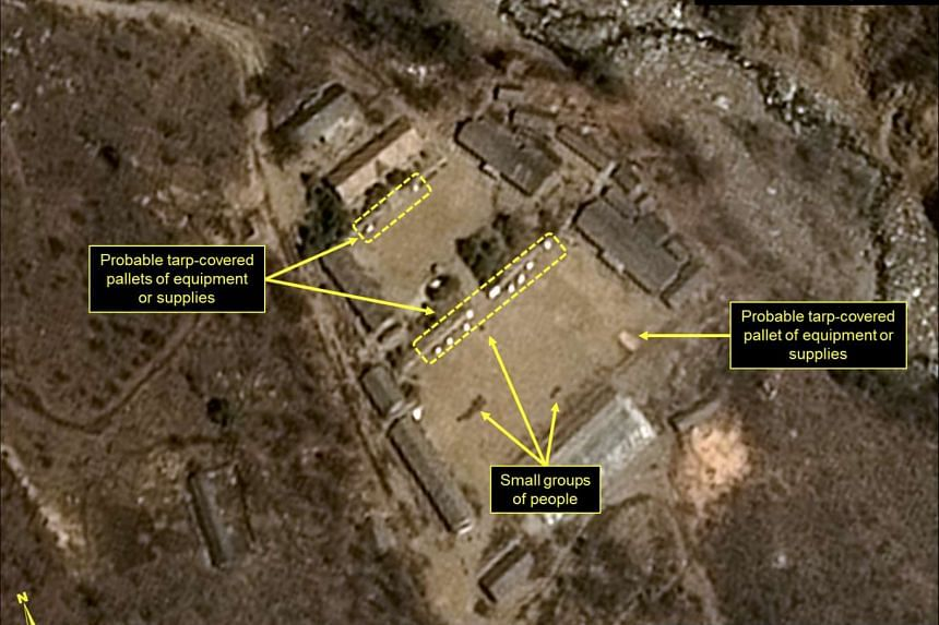 An undated handout satellite image of the Punggye-ri nuclear test site in North Korea in April of 2017.