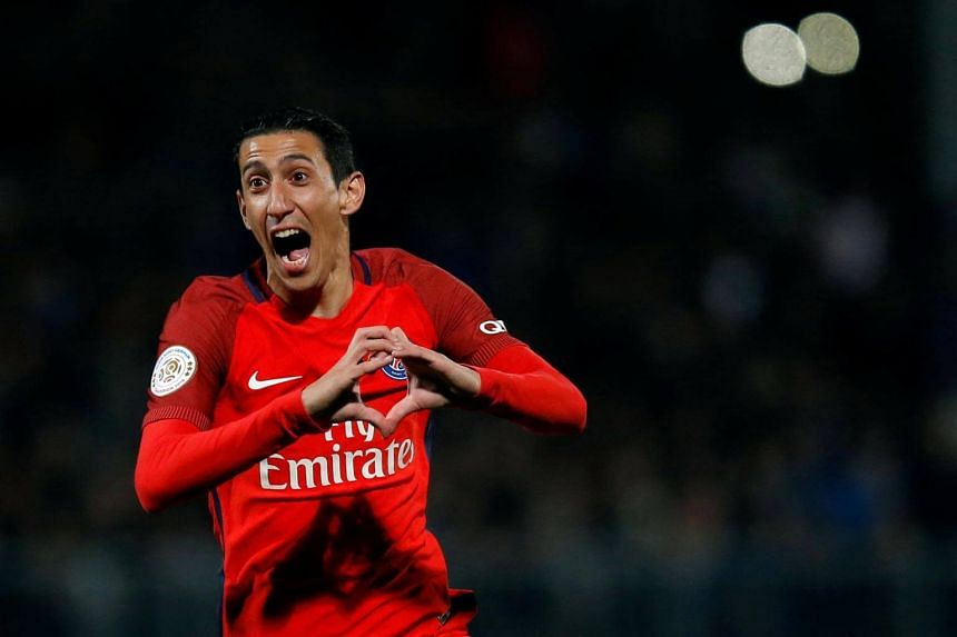 Paris St Germain's Angel Di Maria celebrating after scoring a goal during the French L1 football match between Angers and Paris Saint-Germain on April 14, 2017.