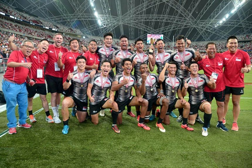 The victorious Singapore men's team during day 1 of the HSBC Singapore Rugby 7s and South-east Asia 7s finals at the National Stadium, on April 15, 2017.