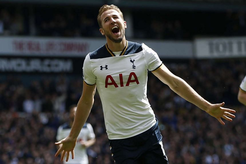 Tottenham's Harry Kane celebrates scoring their third goal against Bournemouth on April 15, 2017.