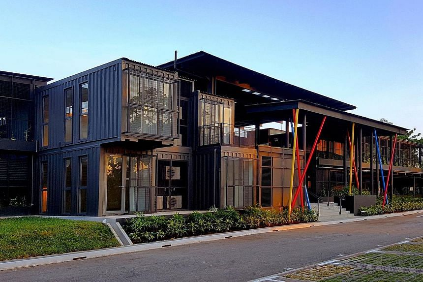 More shipping containers are being repurposed, as seen in Greenfield Modular Studios, which opened in August at Goodman Arts Centre.