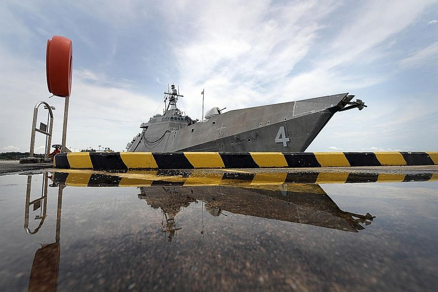 Littoral combat ship USS Coronado at Changi Naval Base on Wednesday. It arrived in Singapore last October. Such ships can perform missions ranging from counter-piracy to humanitarian assistance, and multiple ships will be simultaneously deployed to t