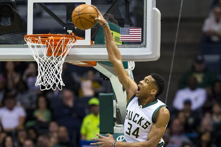 Milwaukee Bucks forward Giannis Antetokounmpo dunking the ball against the New York Knicks during their NBA game on March 9, 2017.