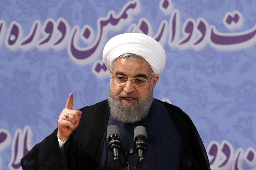 Iranian President Hassan Rouhani delivering a speech after registering to run for re-election at the interior ministry in the capital Tehran, on April 14, 2017.