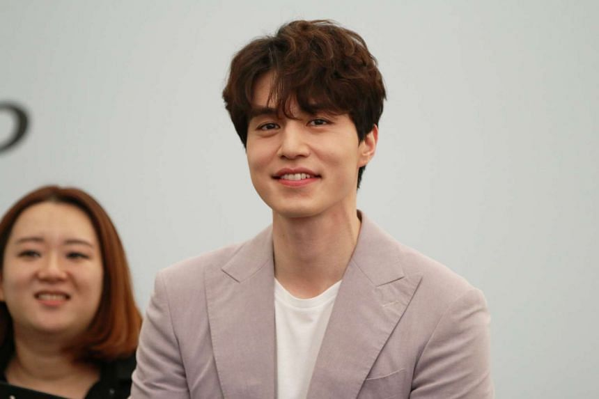 South Korean actor Lee Dong Wook at the press session at Plaza Singapura's outdoor atrium on April 15, 2017.