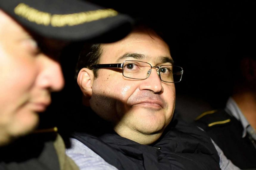Former governor Javier Duarte arriving at the Matamoros military barracks in Guatemala City after his arrest.