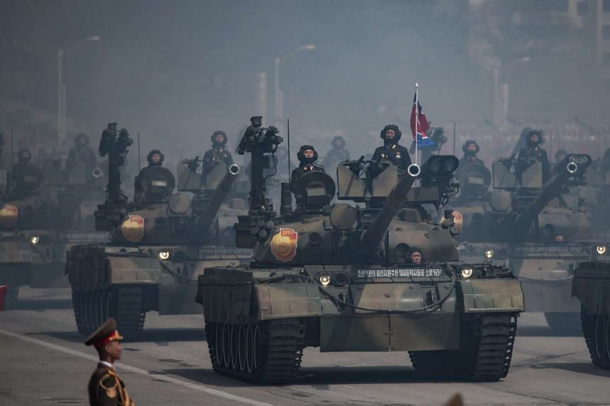 People's Army tanks displayed during a military parade in Pyongyang on April 15, 2017, marking the 105th anniversary of the birth of late North Korean leader Kim Il-Sung.