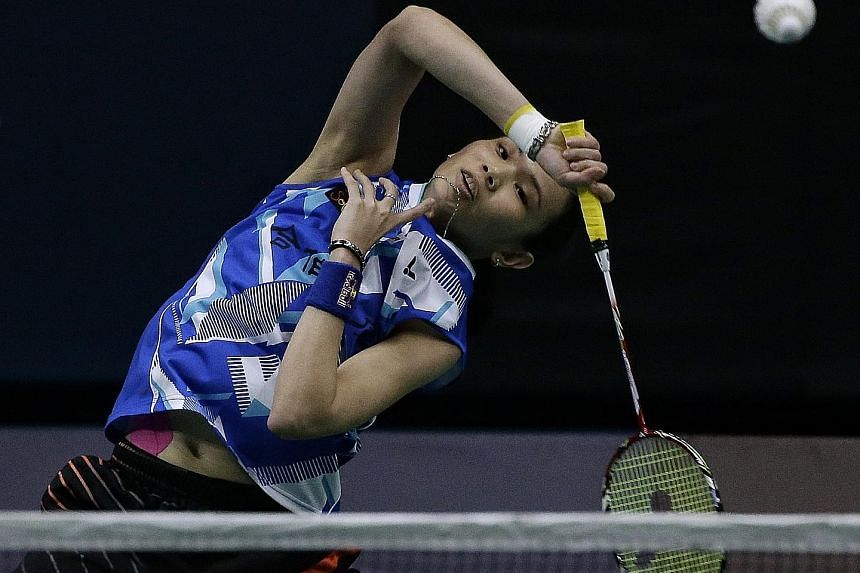Tai Tzu-ying playing an overhead drop shot against Zhang Beiwen. She will have to raise her game against Carolina Marin in today's final.