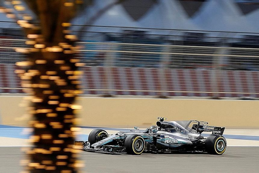 Mercedes driver Valtteri Bottas of Finland driving during the qualifying session. He came ahead of team-mate Lewis Hamilton.