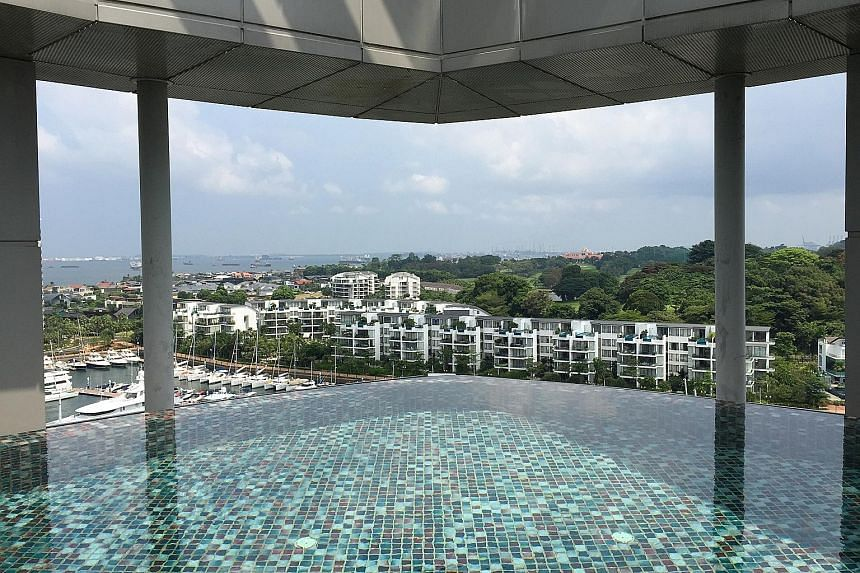 A video posted on CHC's Facebook page last month showing Kong (second from right), with his wife and church members seated at a balcony similar to that of the Sentosa Cove property. A photo taken in 2015 of the infinity pool in the Sentosa Cove apart