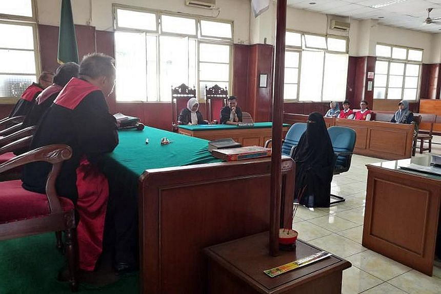 Jumiatun appeared before judges at the North Jakarta District Court last Monday. In 2015, on her husband's orders, she left their baby to live with him as a fugitive in the jungles of Poso, Central Sulawesi.