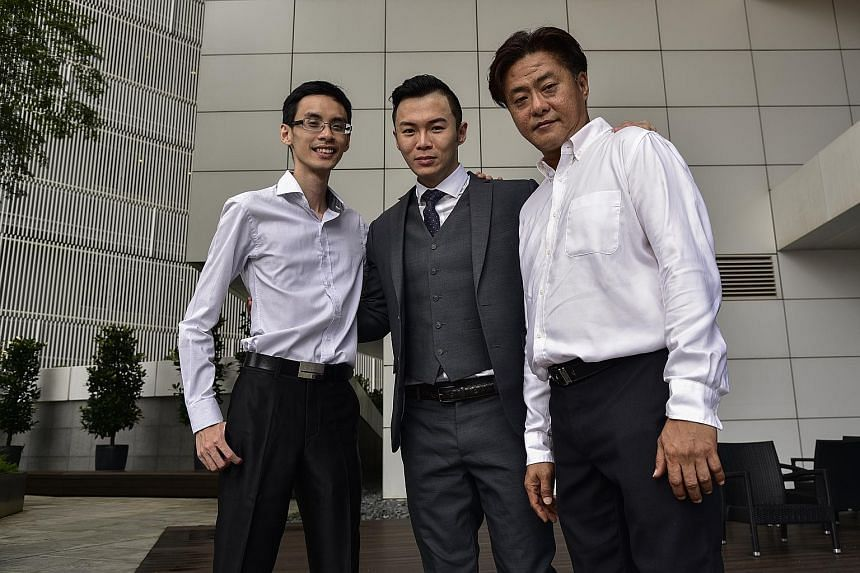 Mr Francis Leo (far right) with his bosses at Pinnacle One Consultancy - CEO Jack Ser (centre) and chief operating officer Kenneth Tan - who are impressed at how much he has learnt through the PCP.