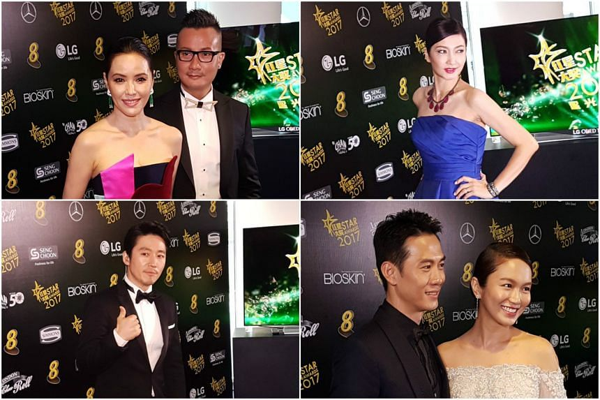 (Clockwise, from left) Zoe Tay, Chen Han Wei, Huang Biren, Joanne Peh, Qi Yuwu and Jang Hyuk pose for photographs ahead of Mediacorp's annual Star Awards on April 16, 2017.