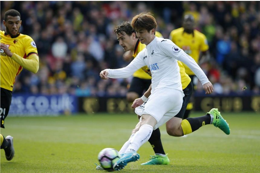 Swansea City's Ki Sung Yueng during their game against Watford on April 15, 2017.