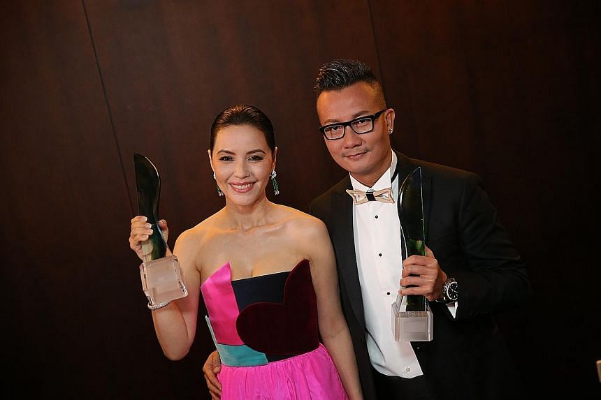 Zoe Tay won her second Best Actress honour at the Star Awards last night, while Chen Hanwei's Best Actor award was his fifth. Both are alumni of the 1988 Star Search talent hunt.