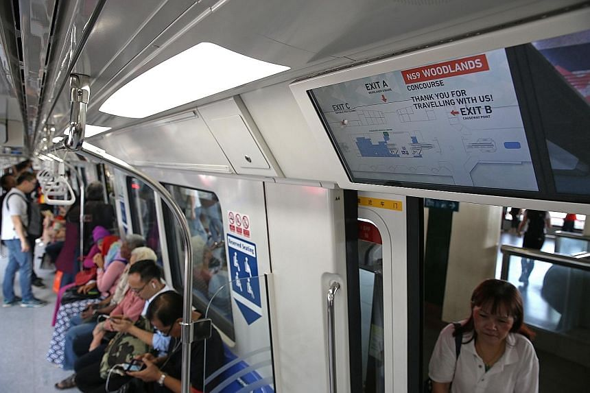 The new train, featuring LCD displays, started running on the North-South Line yesterday.