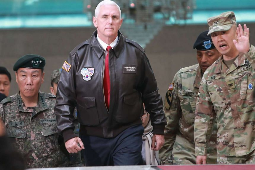 US Vice-President Mike Pence visits the truce village of Panmunjom on the inter-Korean border on April 17, 2017.