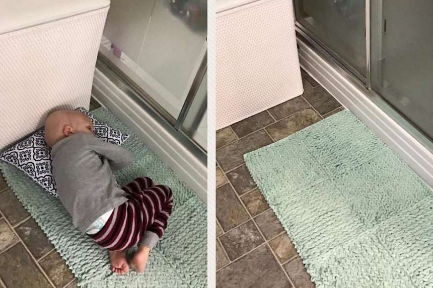 Four-year-old Nolan curled up on a rug in the toilet as his mother was showering.