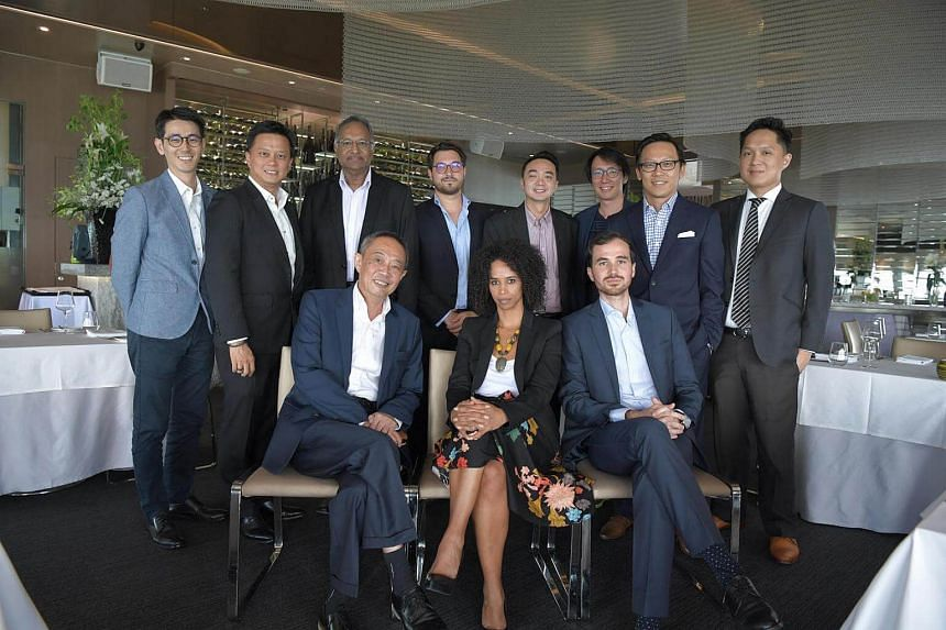 (Standing, from left) Asia Pacific Breweries head of corporate affairs Mitchell Leow, founder of 1-Rochester Group and SNBA secretary Joseph Ong, Pernod Ricard senior manager for public relations and communications Rajan Menon, EuroCham policy and co