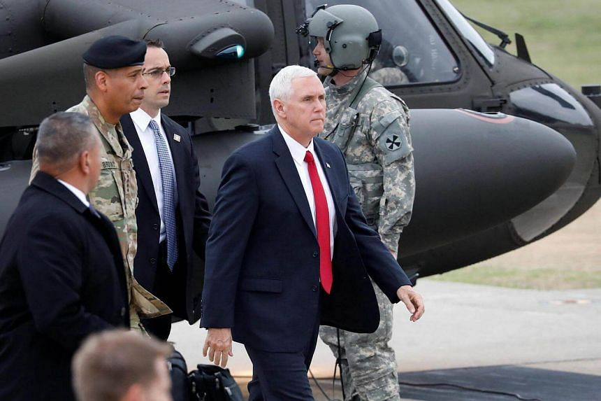US Vice-President Mike Pence arriving at Camp Bonifas near the truce village of Panmunjom, in Paju, South Korea, on April 17, 2017.