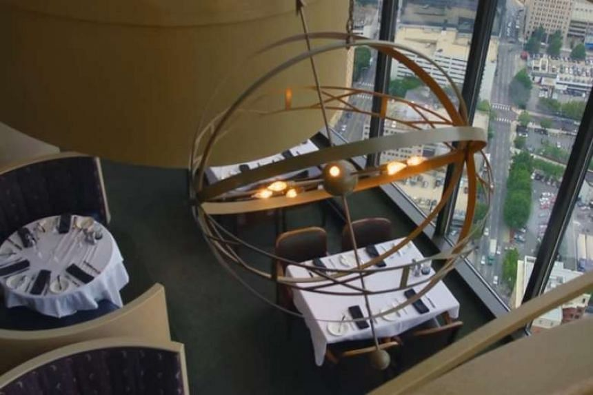 A overhead view of the Sun Dial restaurant in Atlanta, which revolves to make the most of the city's views.
